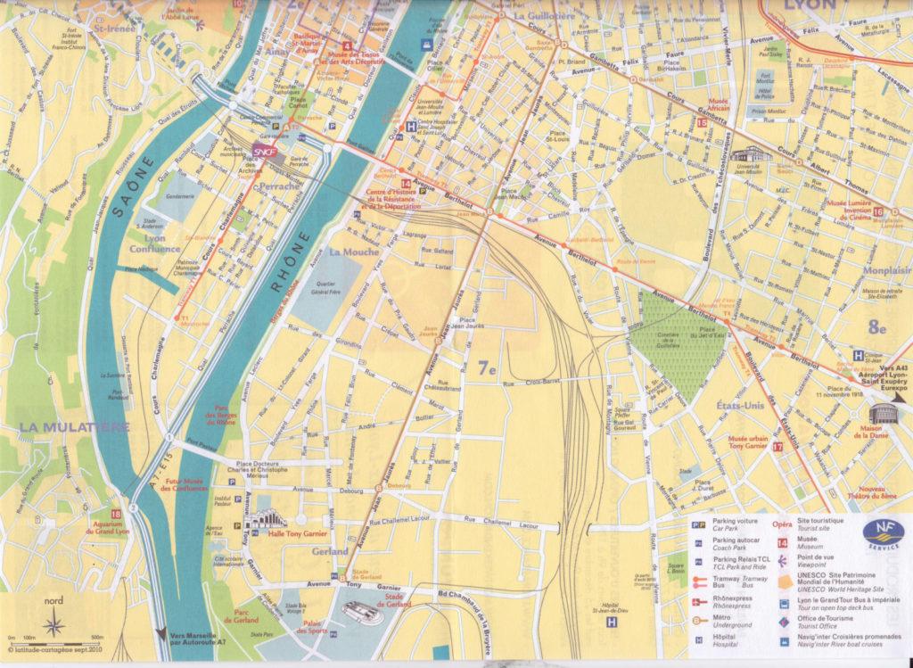 le plan de la ville de Lyon