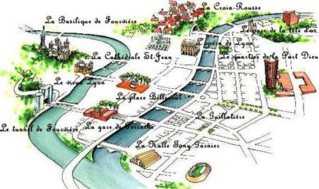 Plan des quartiers de Lyon